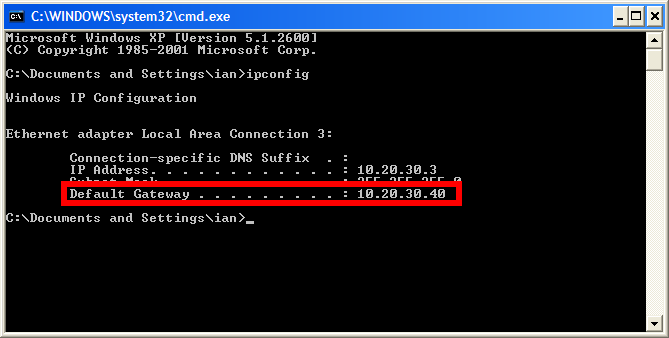 Command prompt with ipconfig results
