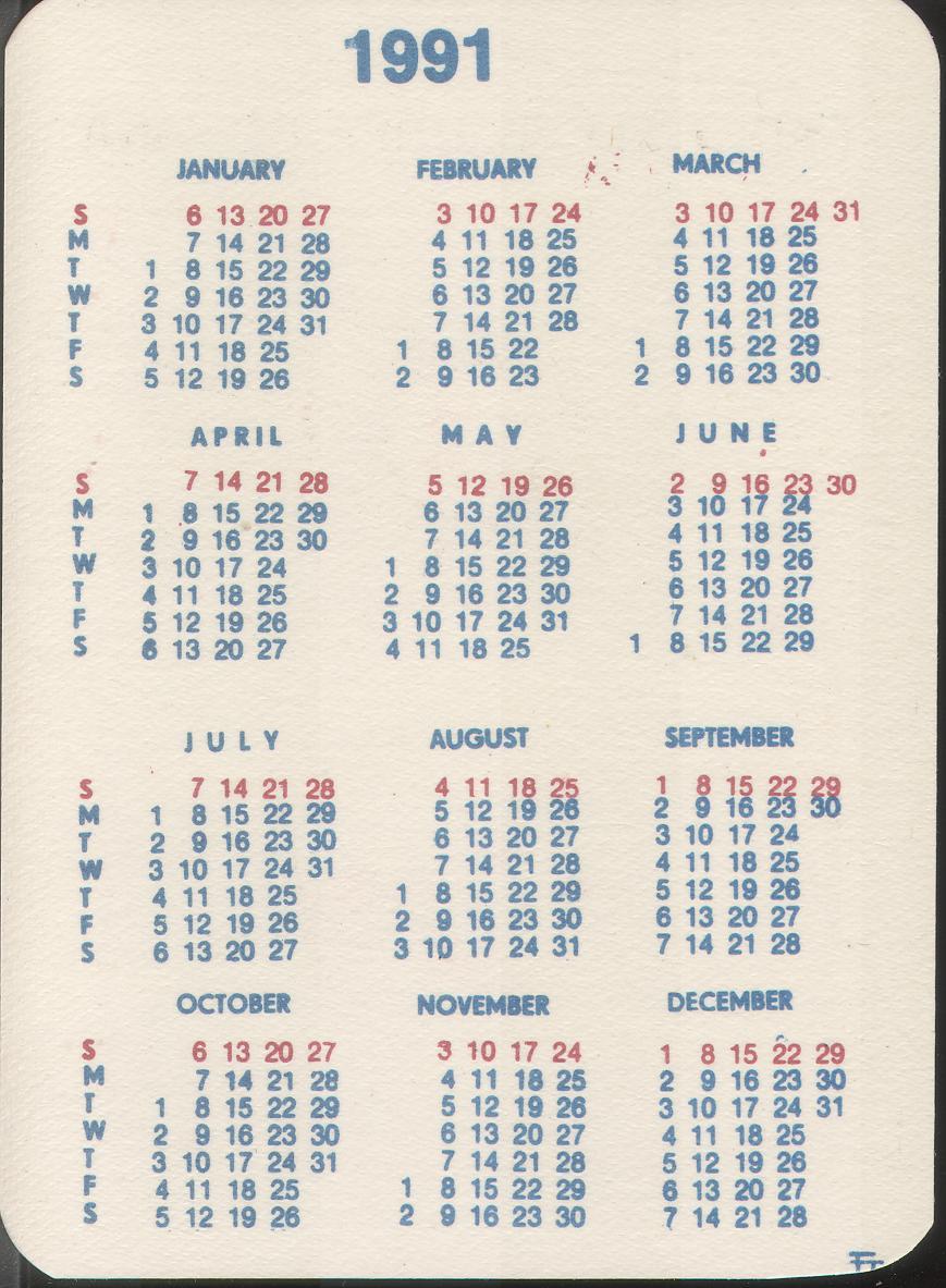 1991 Calendar Back Rainbow Chard