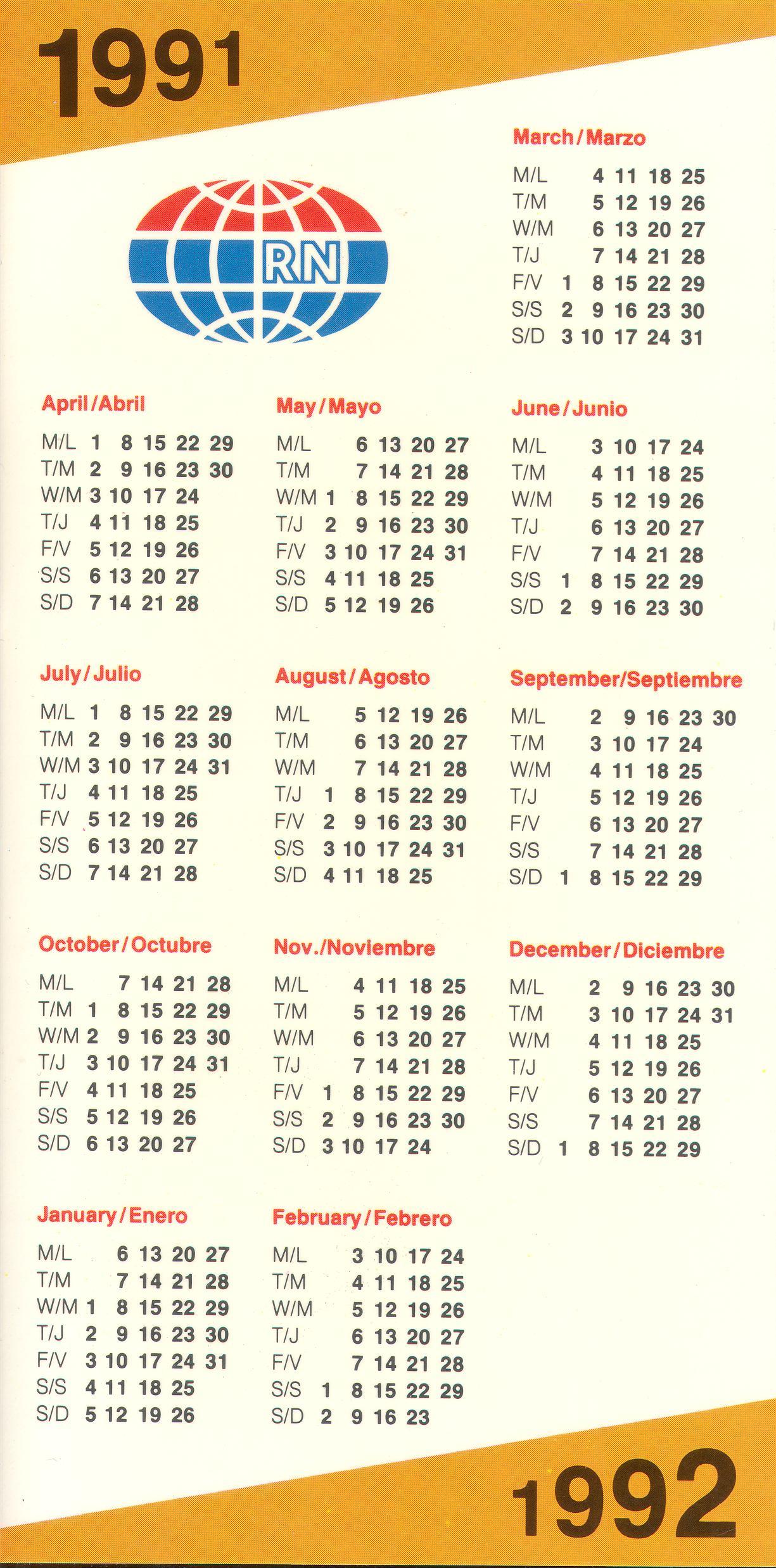 Happy Station Calendar 1991 92 Back Rainbow Chard